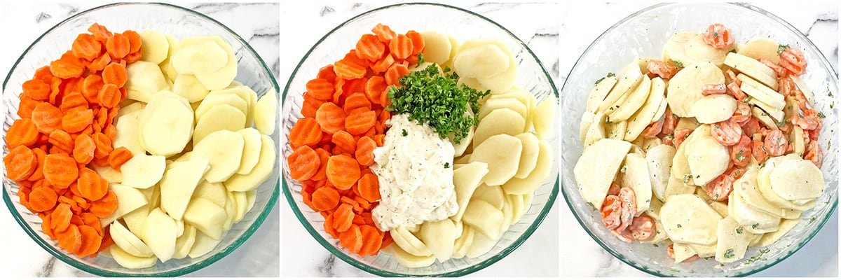 Scalloped Potatoes with Carrots slicing and mixing instructions