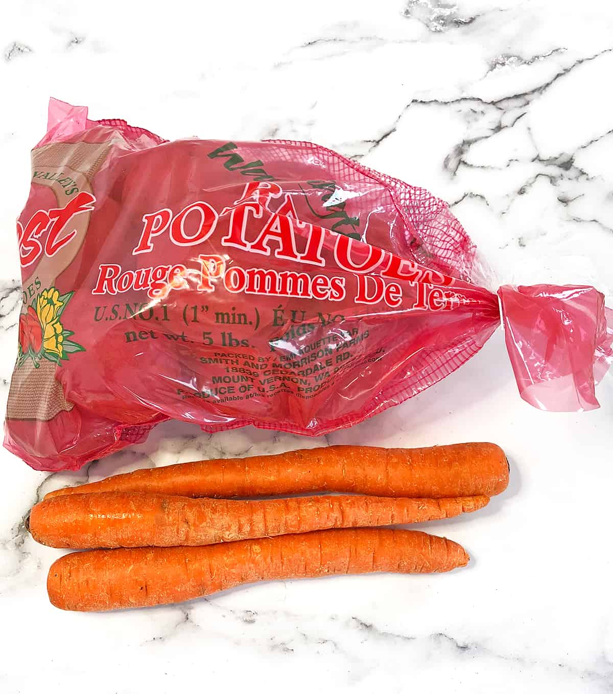 Potatoes Ingredients for the Scalloped Potatoes with Carrots