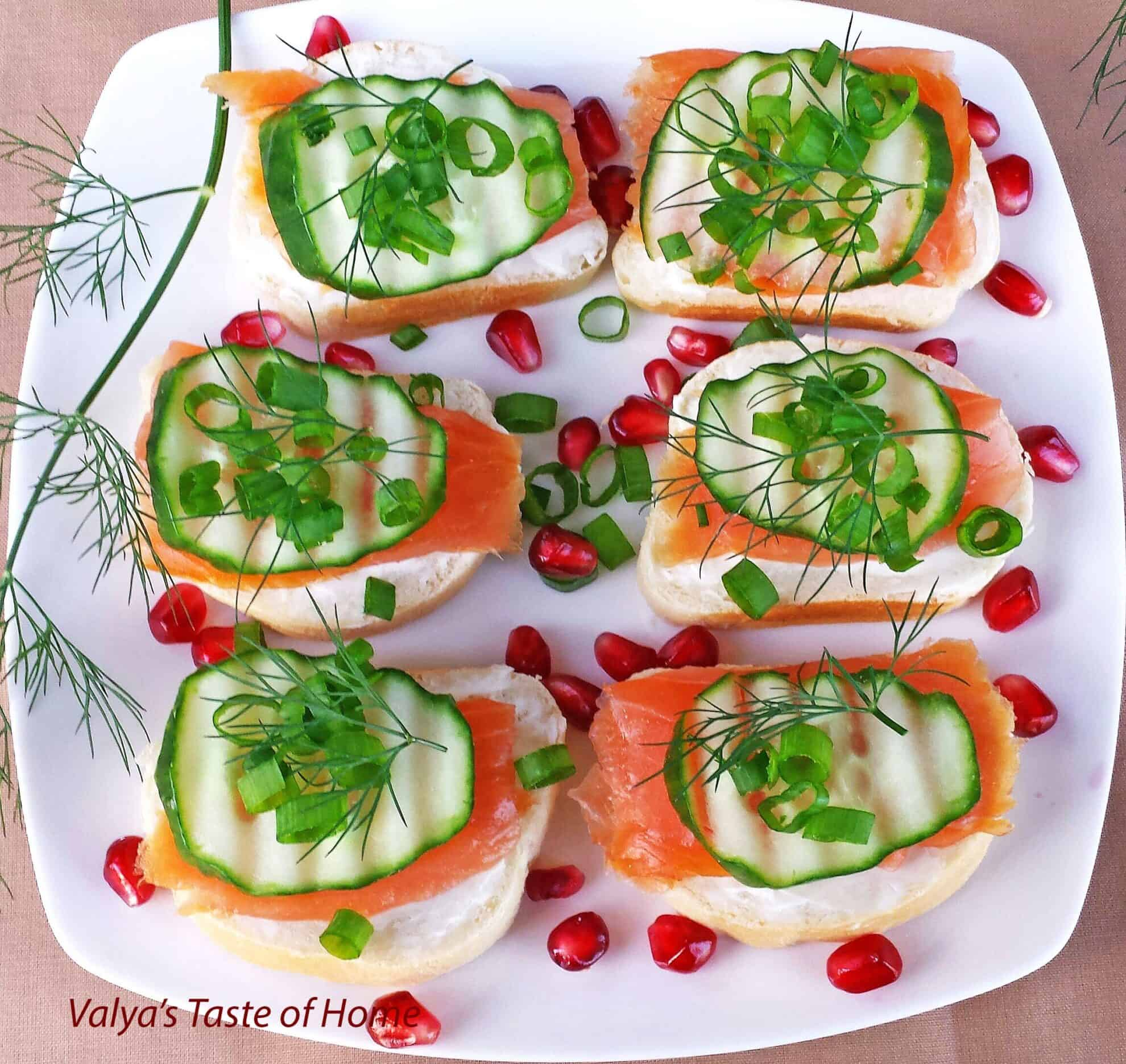 Smoked salmon canap s valya 39 s taste of home for What is a canape appetizer