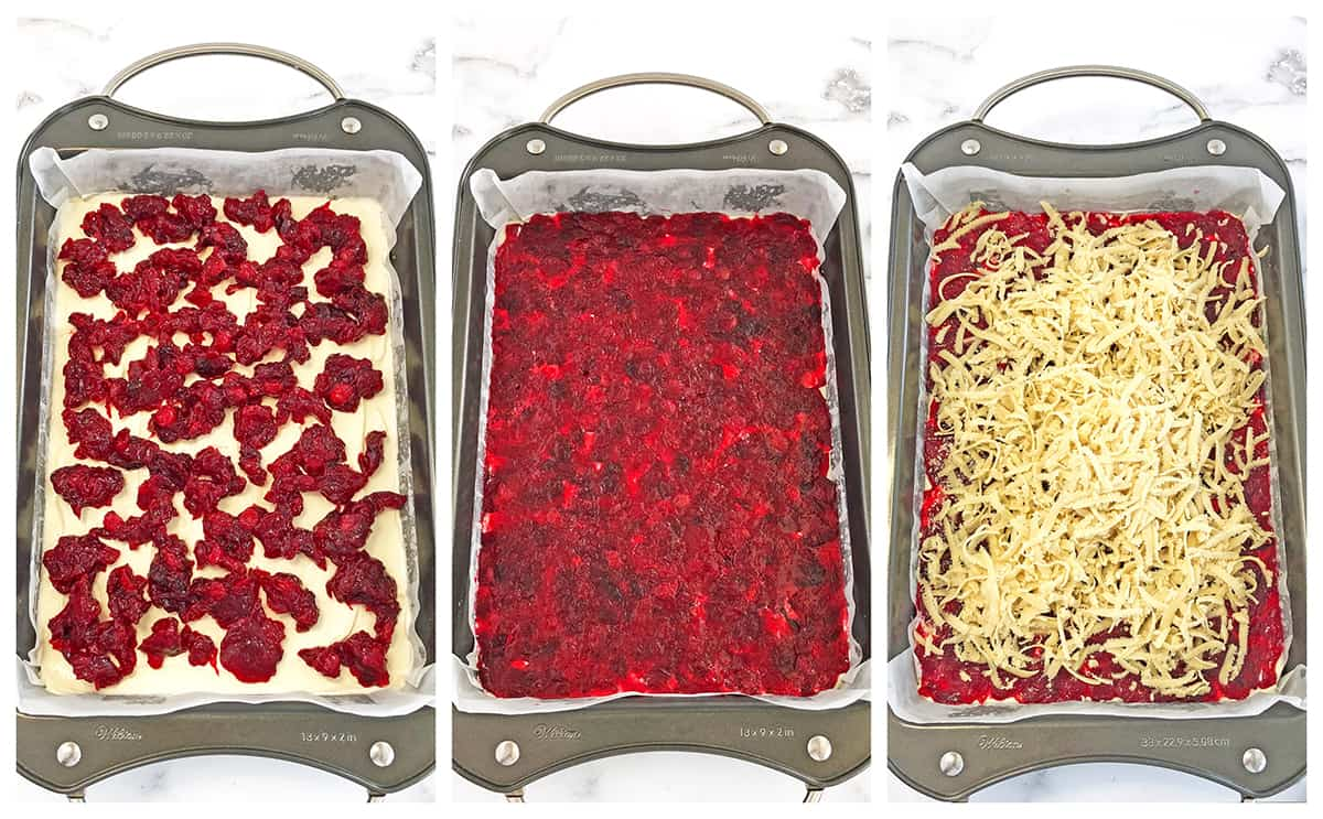 How to assemble cream cheese cranberry bars.