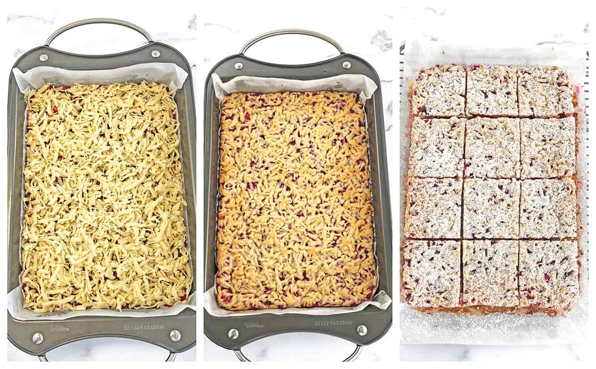 Baking, cooling and slicing the cream cheese cranberry bars.