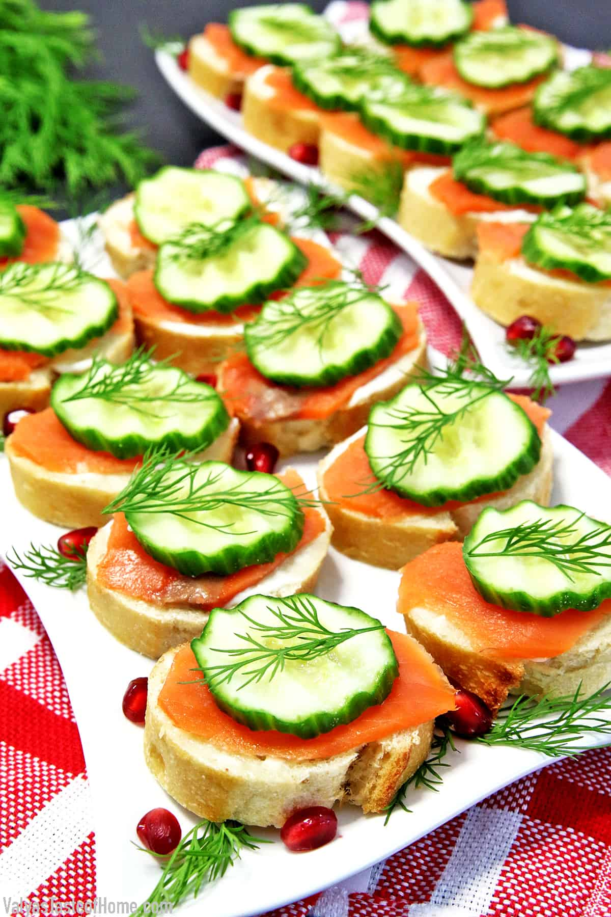 These Smoked Salmon Canapés not only taste incredible but they decorate your party table well. The only problem seems to be with these little treats is no matter how many you make, they fly off the table too quickly.
