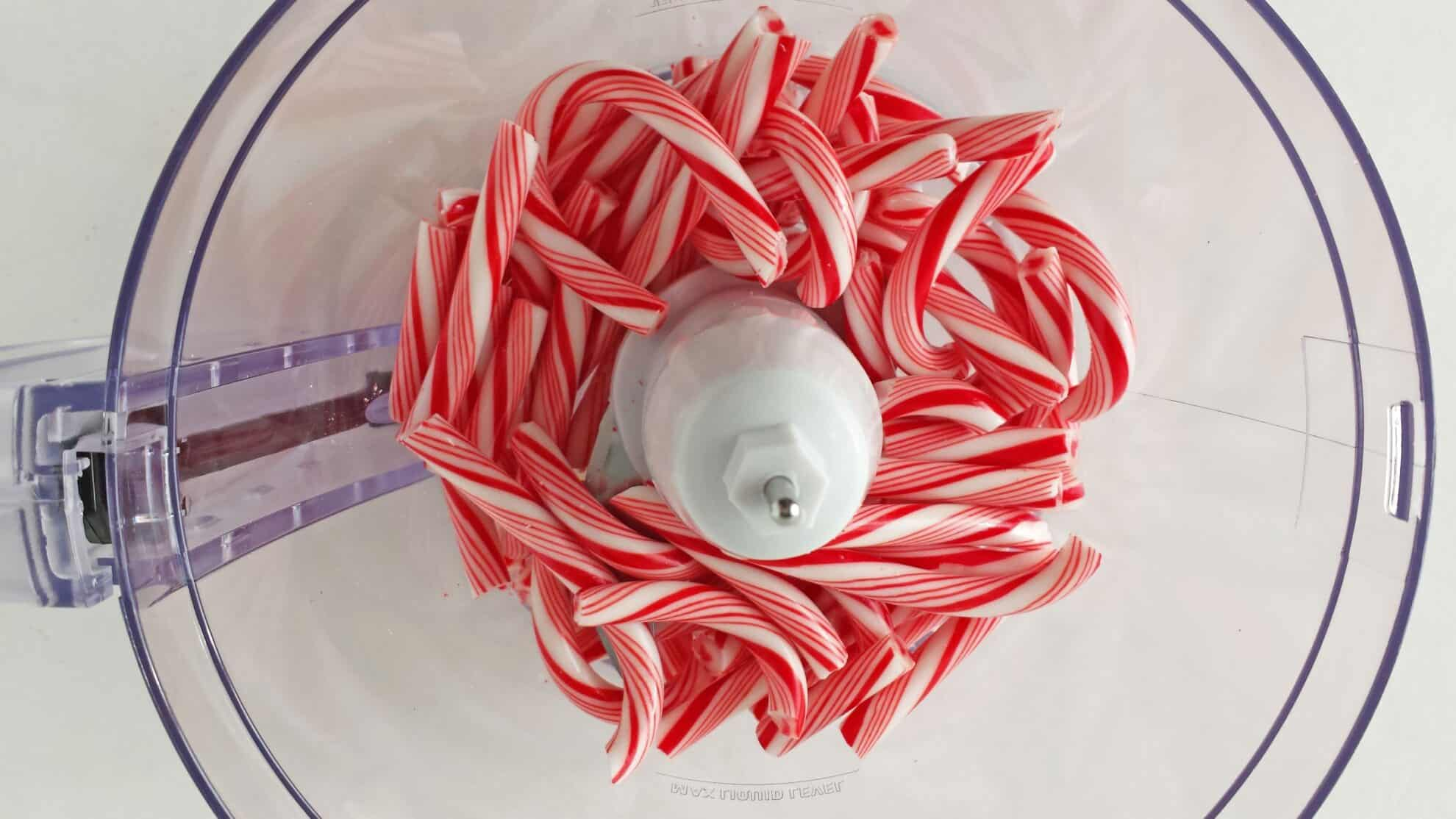 Crush candy canes in a food processor sift the candy canes into a