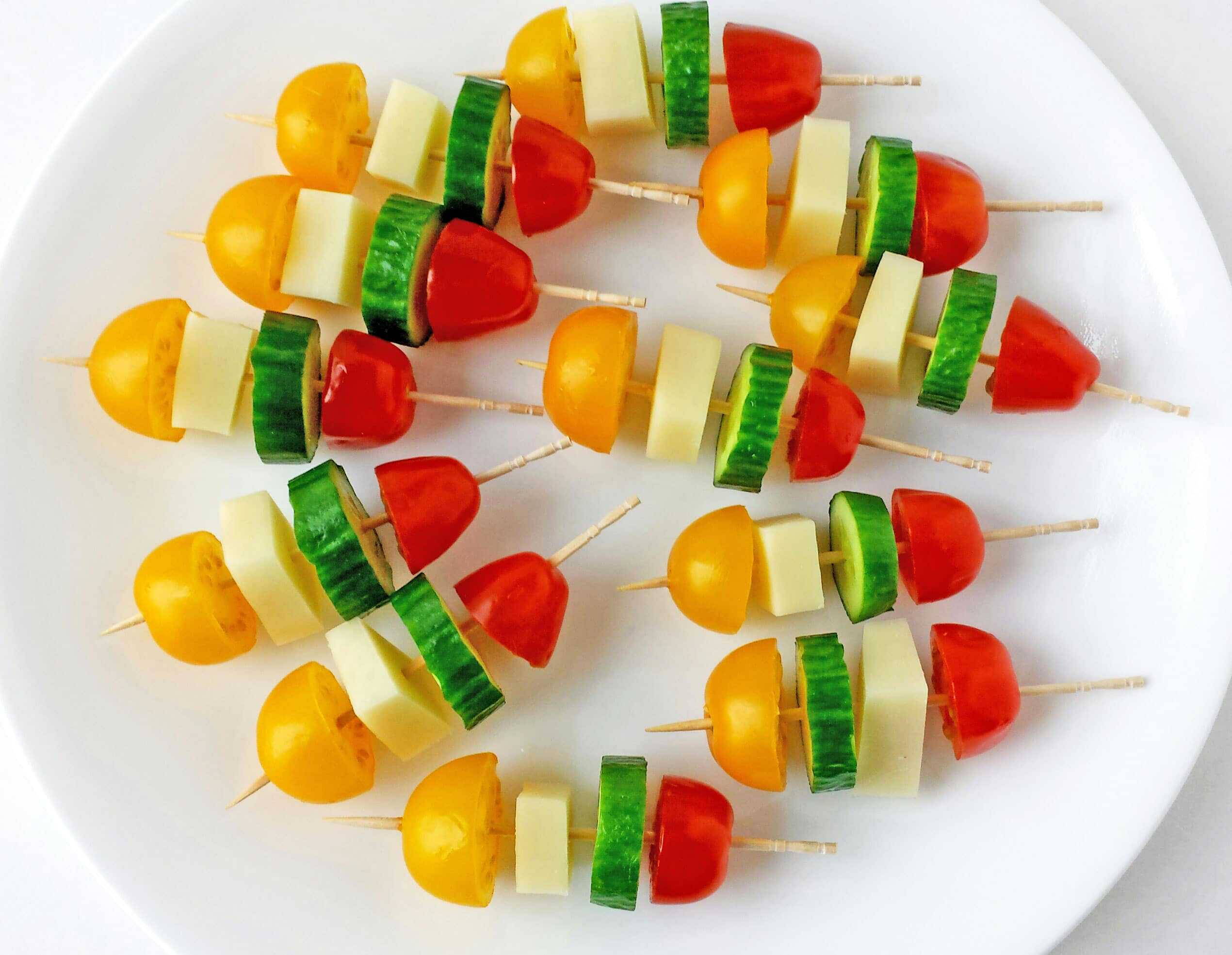 Kids Birthday Party Decoration Ideas At Home Tomatoes Cucumber And Mozzarella Cheese Kabob Appetizers