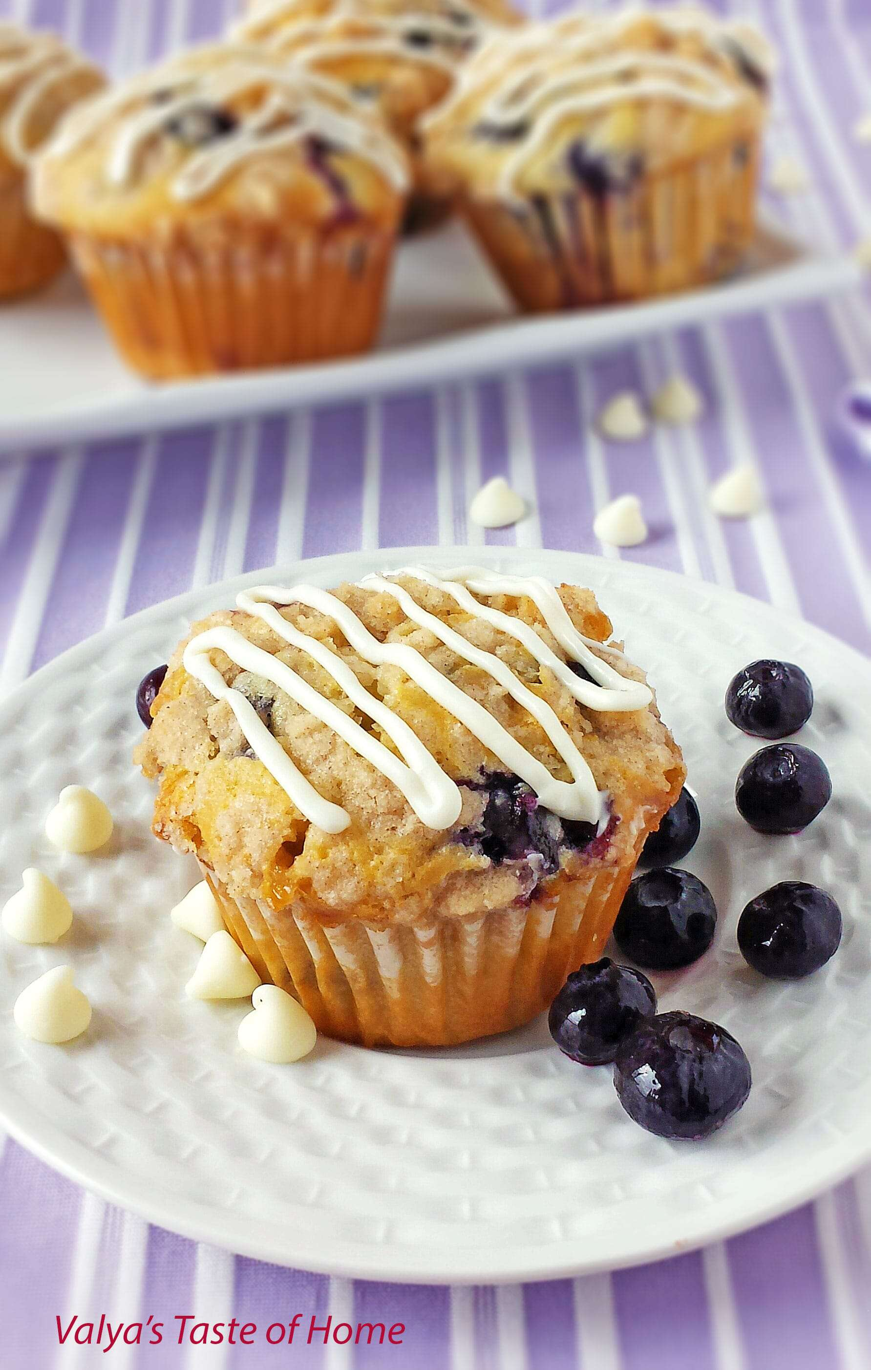 Blueberry Muffins with White Chocolate Morsels and Lemon Zest - Valya ...