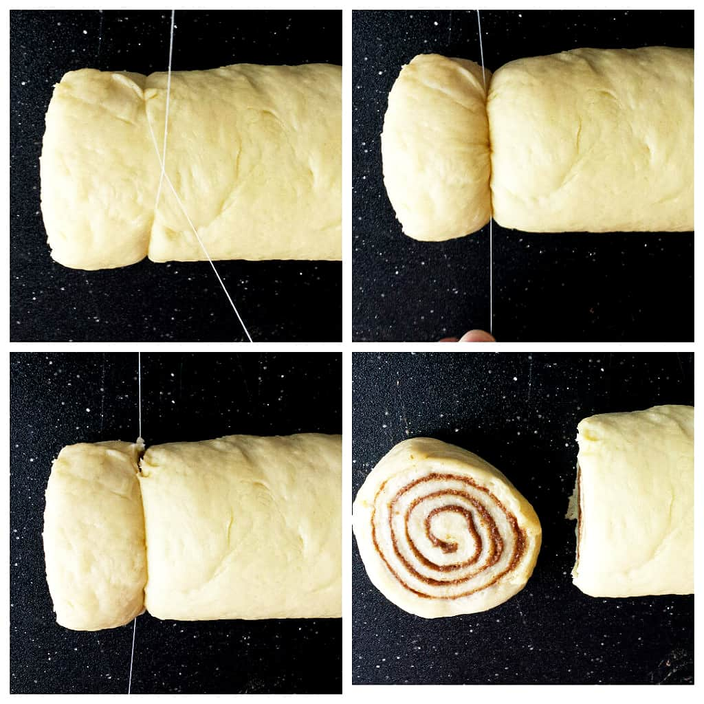 Slicing the Cinnamon Rolls using a string