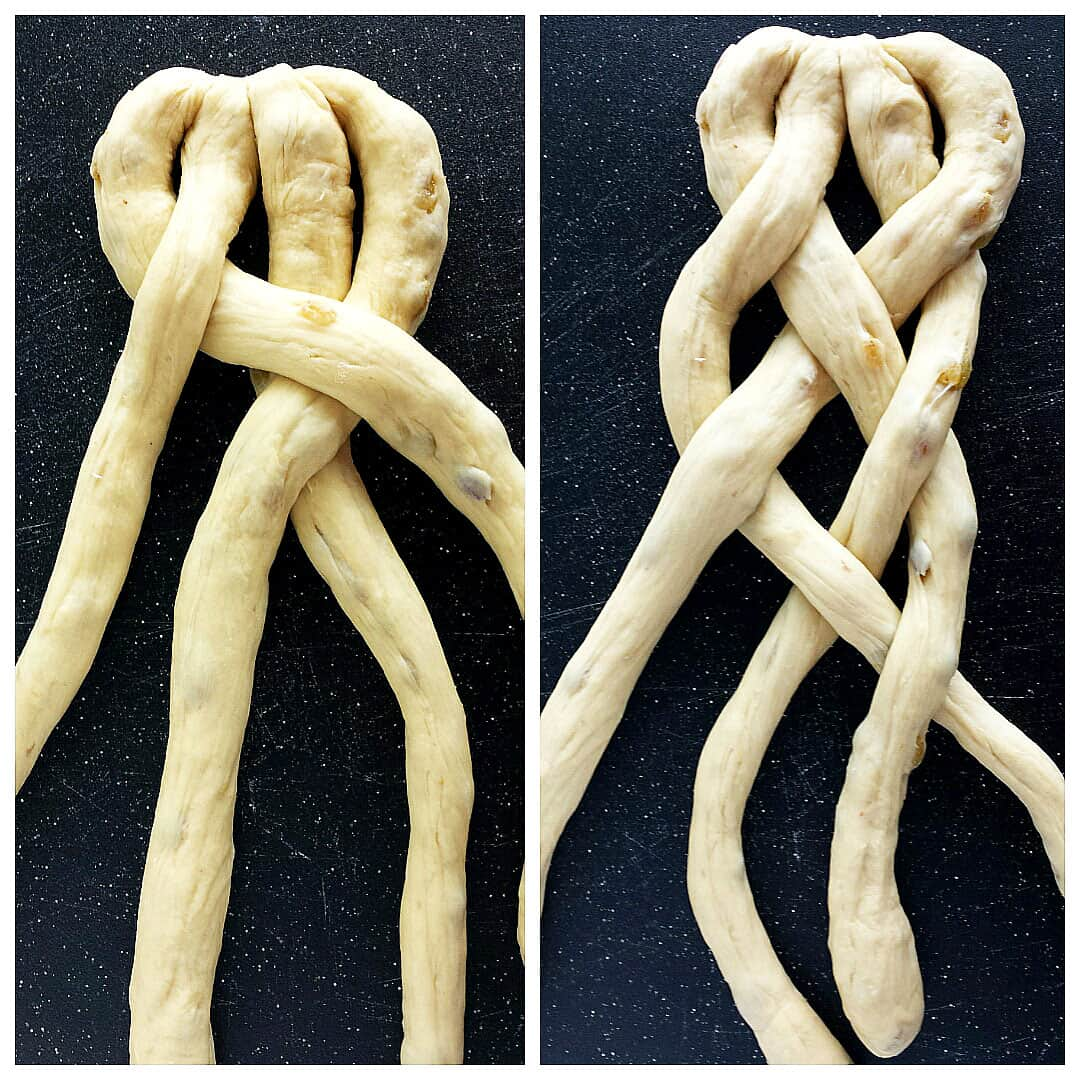 How to Braid the Sweet Braided Ester Bread with Raisins