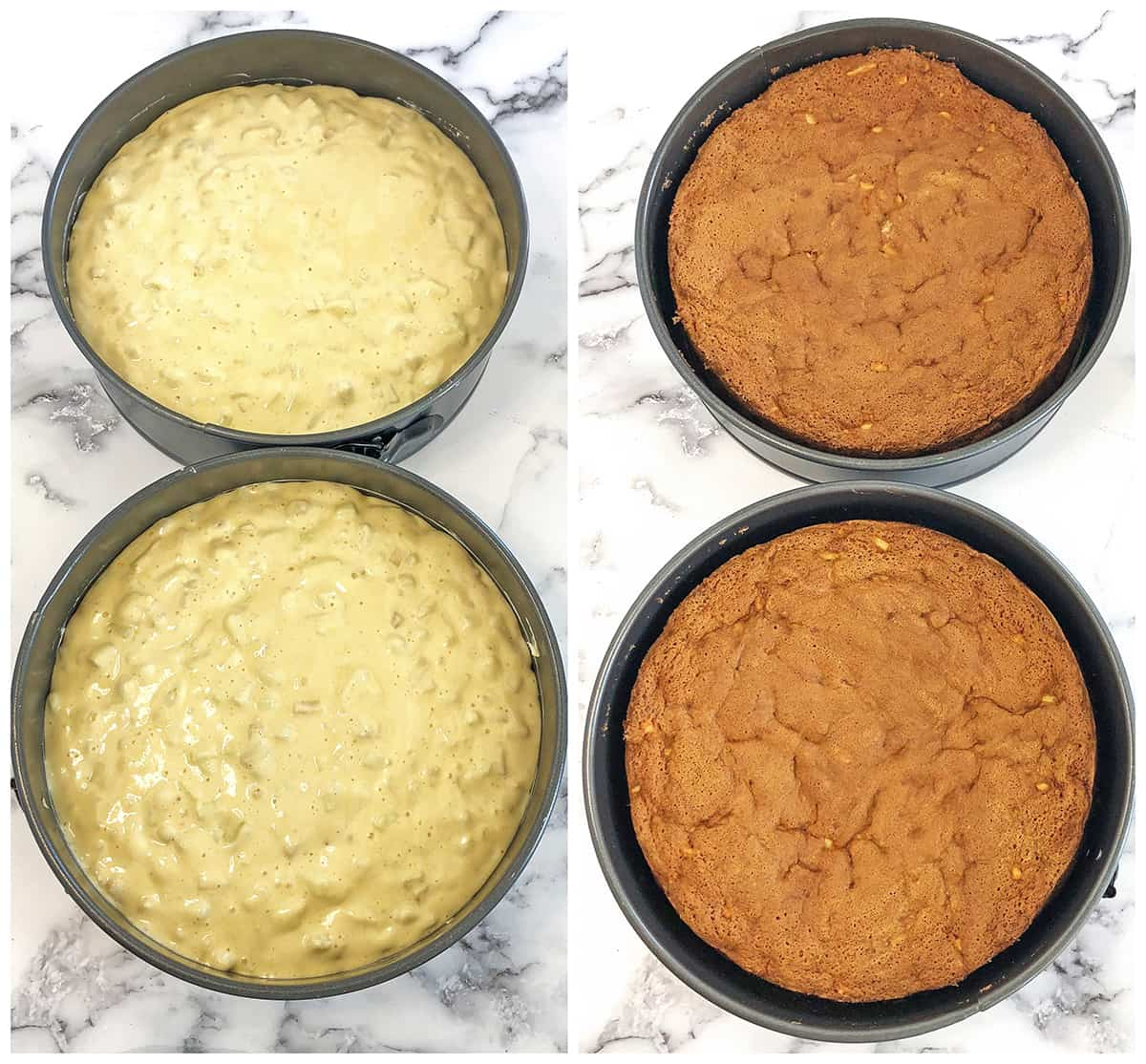 Split the batter between two greased pans, in equal portions. Bake for 50 minutes at 300 F.