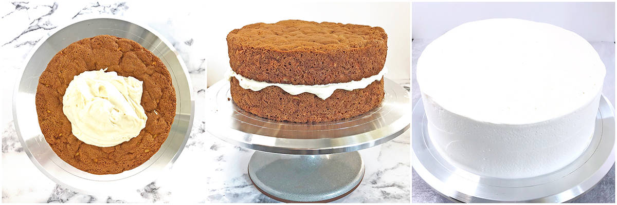 Cream on the sponge and spread it out evenly on all sides.
