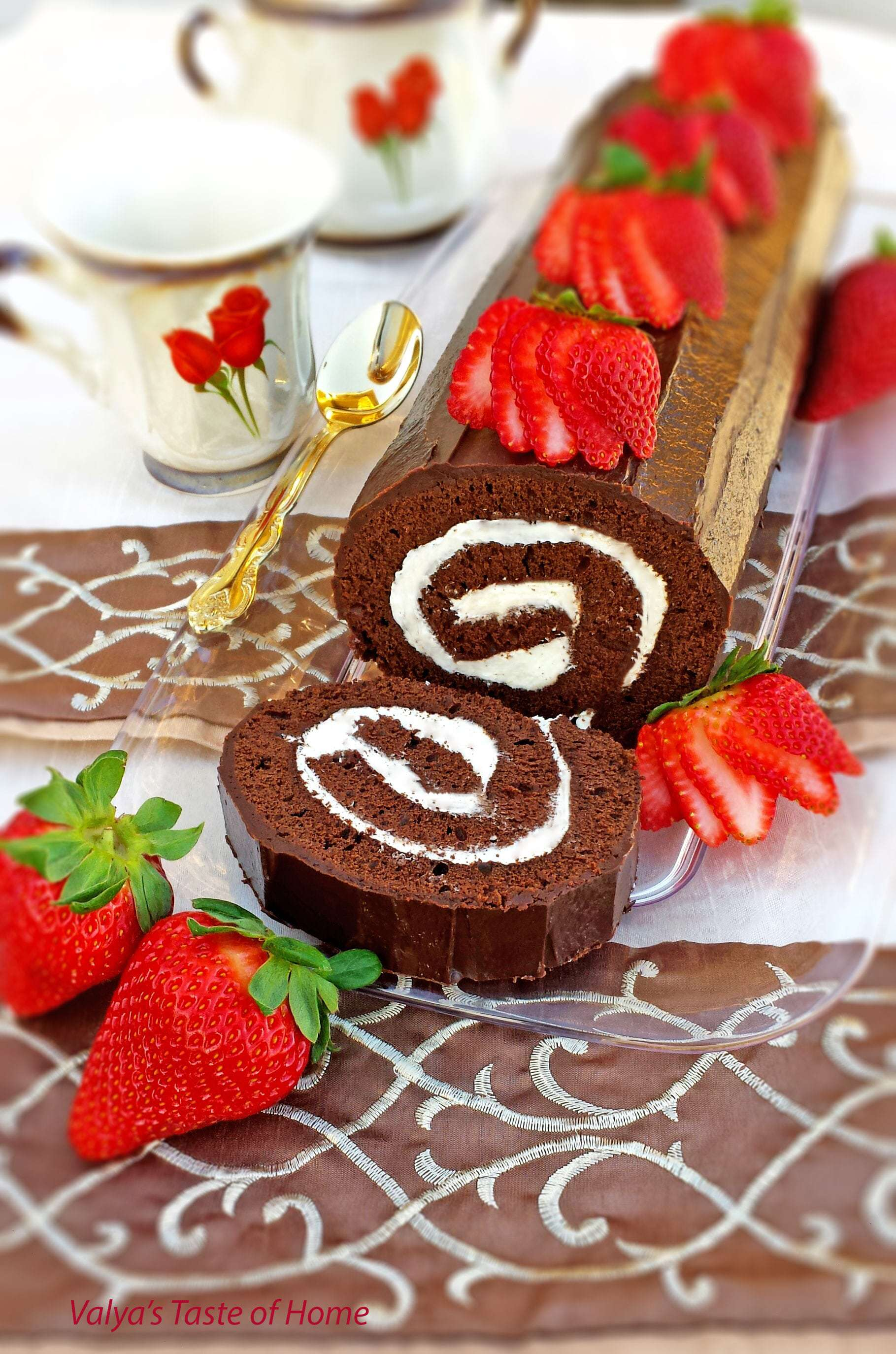 Double Chocolate Brownie Roulade Recipe - Valya's Taste of Home