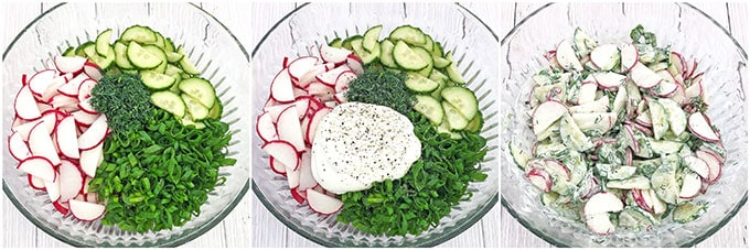 Chives, Radish, and Cucumber Salad Recipe is our family favorite spring salad! It requires very few ingredients but it is so crisp and full of flavor, especially when using garden fresh produce. I can just eat this salad by itself, but I usually serve it with mashed potatoes or buckwheat.