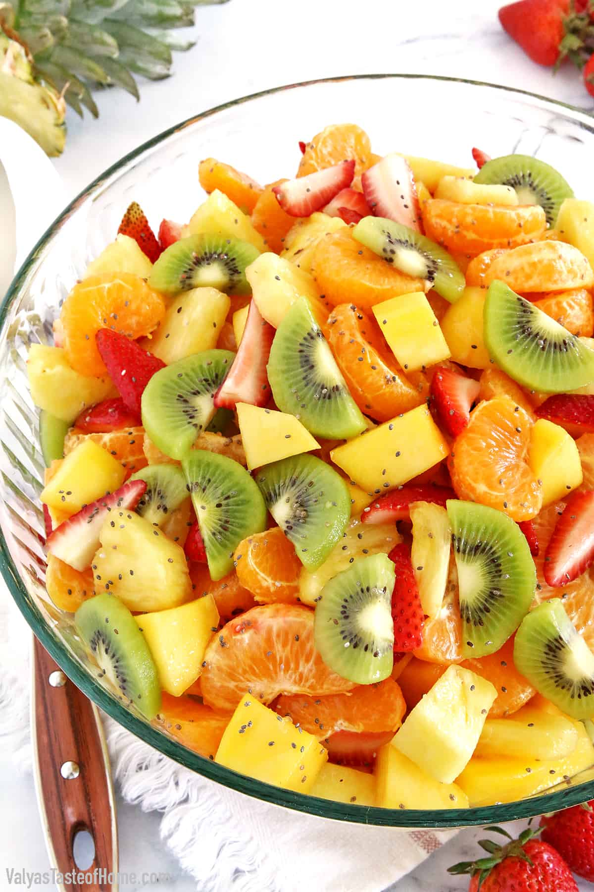 This Tropical Fruit Salad is a great addition to your meal as a dessert or it can be a perfect snack any time of the year especially during hot summer days.