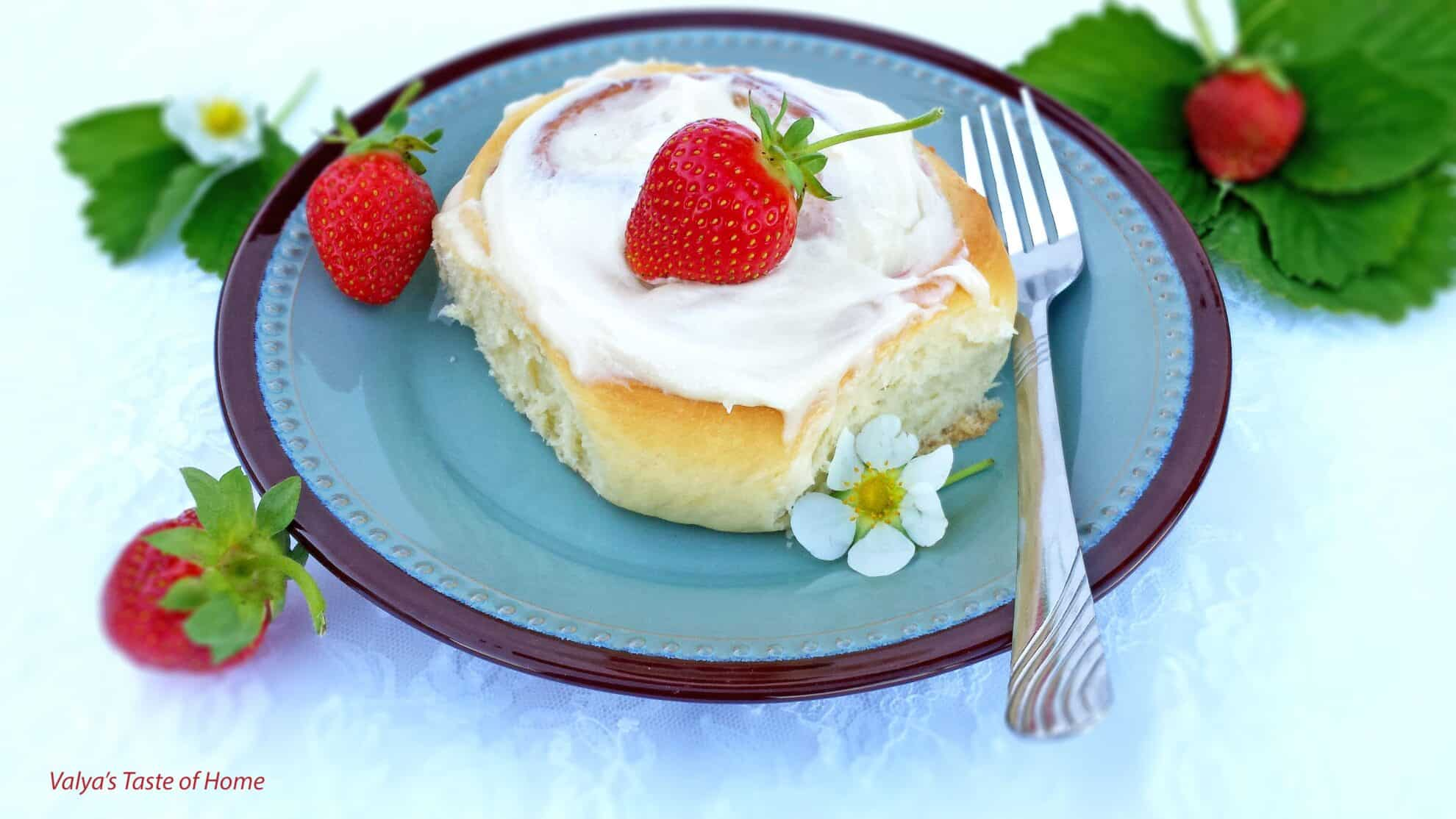 Strawberry Rolls with Cream Cheese Frosting - Valya\'s Taste of Home