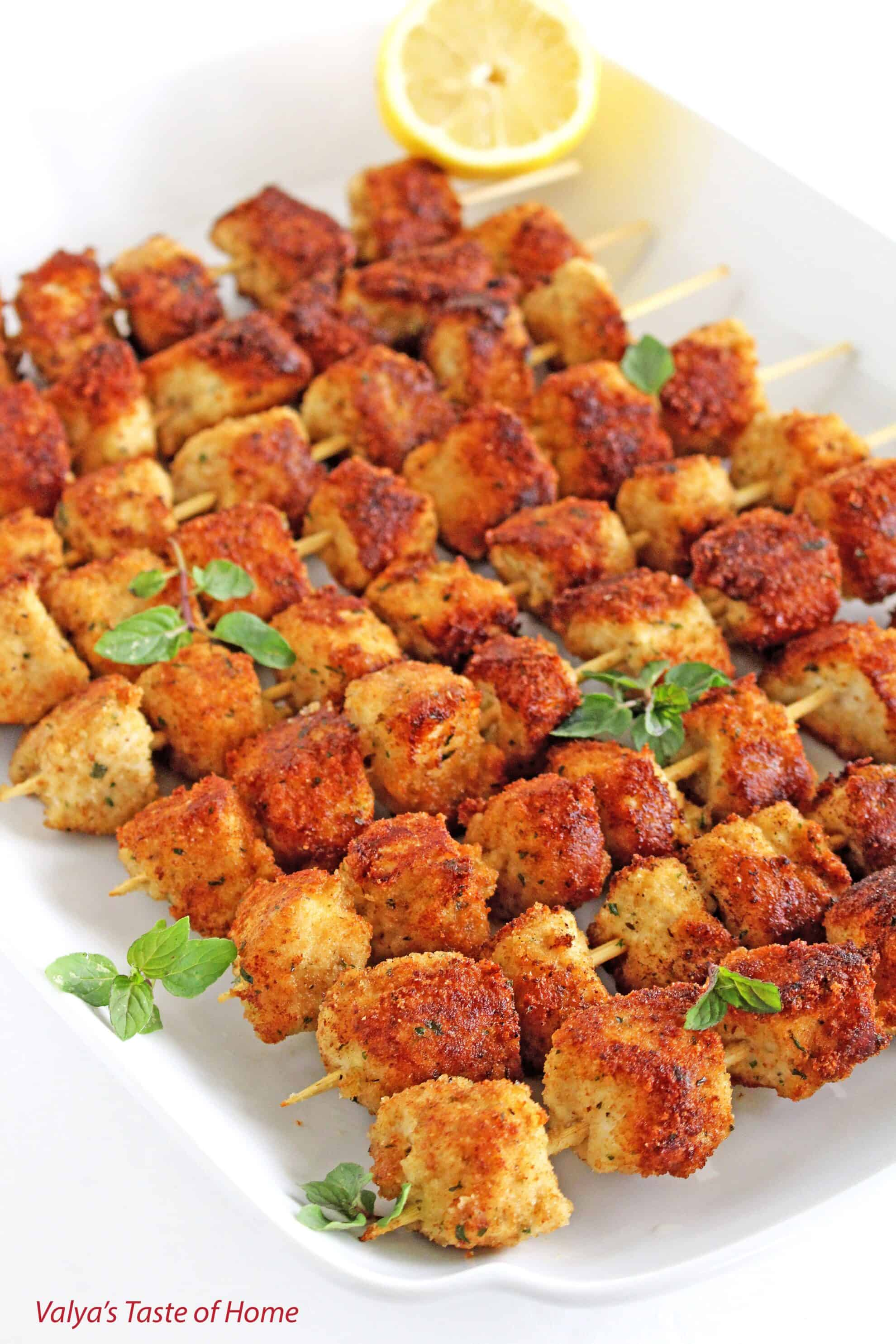 Breaded Parmesan Chicken Skewers - Valya's Taste of Home
