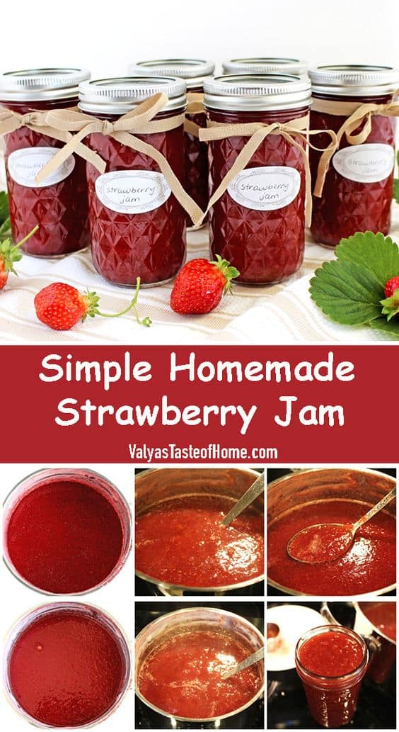 This Simple Homemade Strawberry Jam Recipe is very unique in a way that it's supremely healthy. Only two ingredients, and mostly the lovely strawberries! It takes three days to make this jam, but the instructions are very simple and short.
