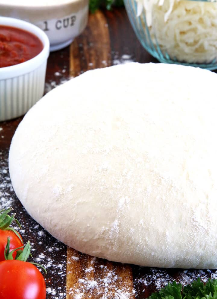 I've been making Homemade Pizza Dough for many years. I personally prefer homemade dough for homemade pizzas over restaurant bought. First, preparing it from scratch at home is the essence of the taste of home. Second, because I know that it has been prepared cleanly with the freshest ingredients for an unbeatable, delicious taste.
