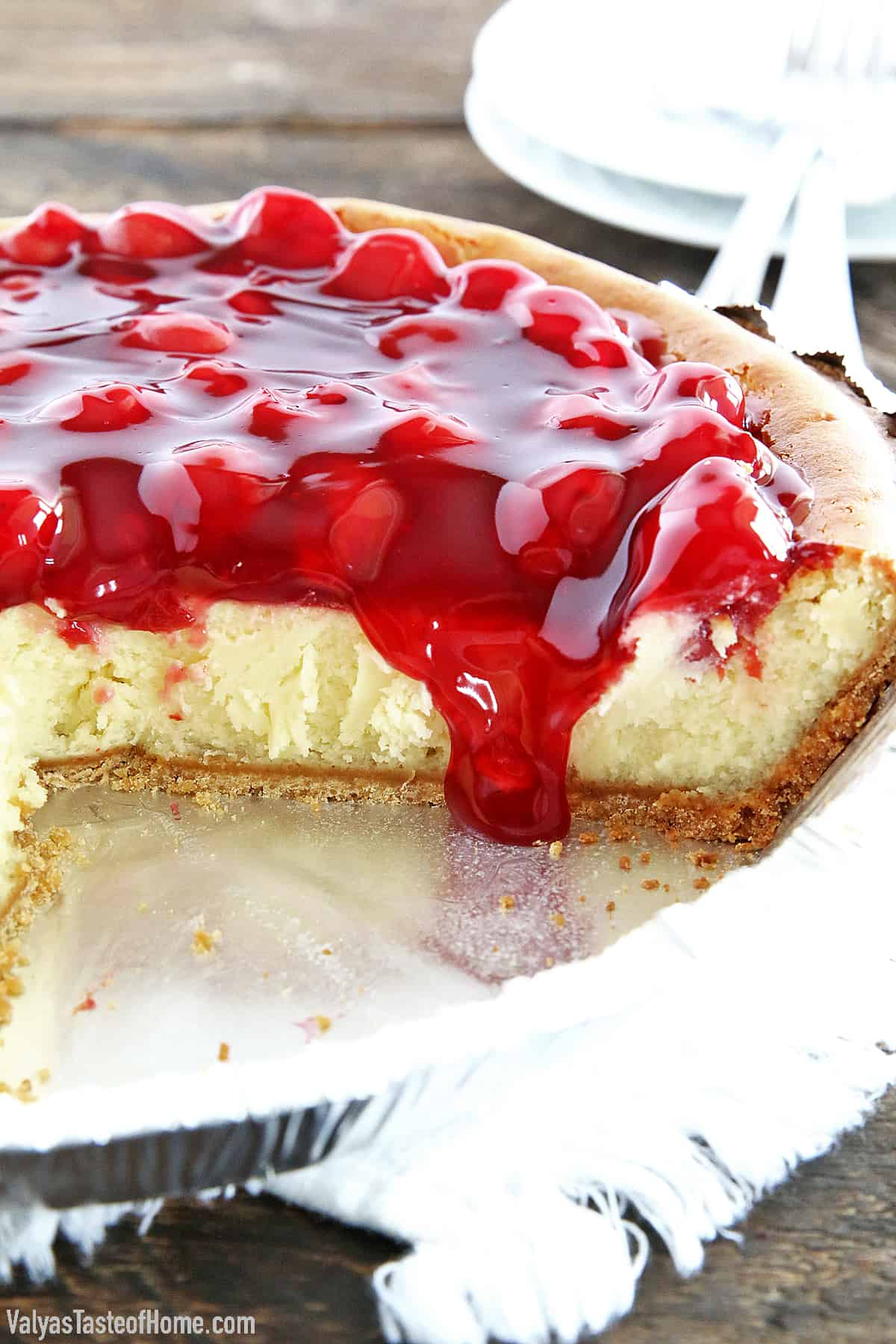 This Cherry Cheesecake is so easy to make and has a delicious original flavor that is hard to beat. It's very smooth and creamy. A bit on the sweet side, but the slightly sour cherry topping perfectly complements that sweetness that is irresistible.