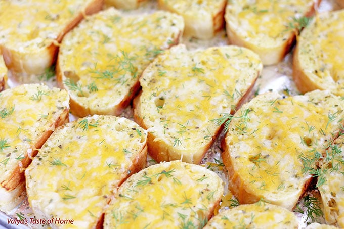 Toasted Cheesy Garlic Canapés