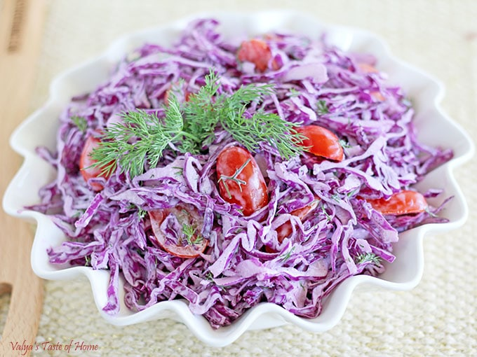 This Purple Cabbage Tomato Salad, like most, has its own distinct taste and deliciousness which I really like. It's easy to make and requires very few ingredients. The plain Greek Yogurt and mayonnaise dressing combo give it a rich, smooth and healthy flavor and texture.