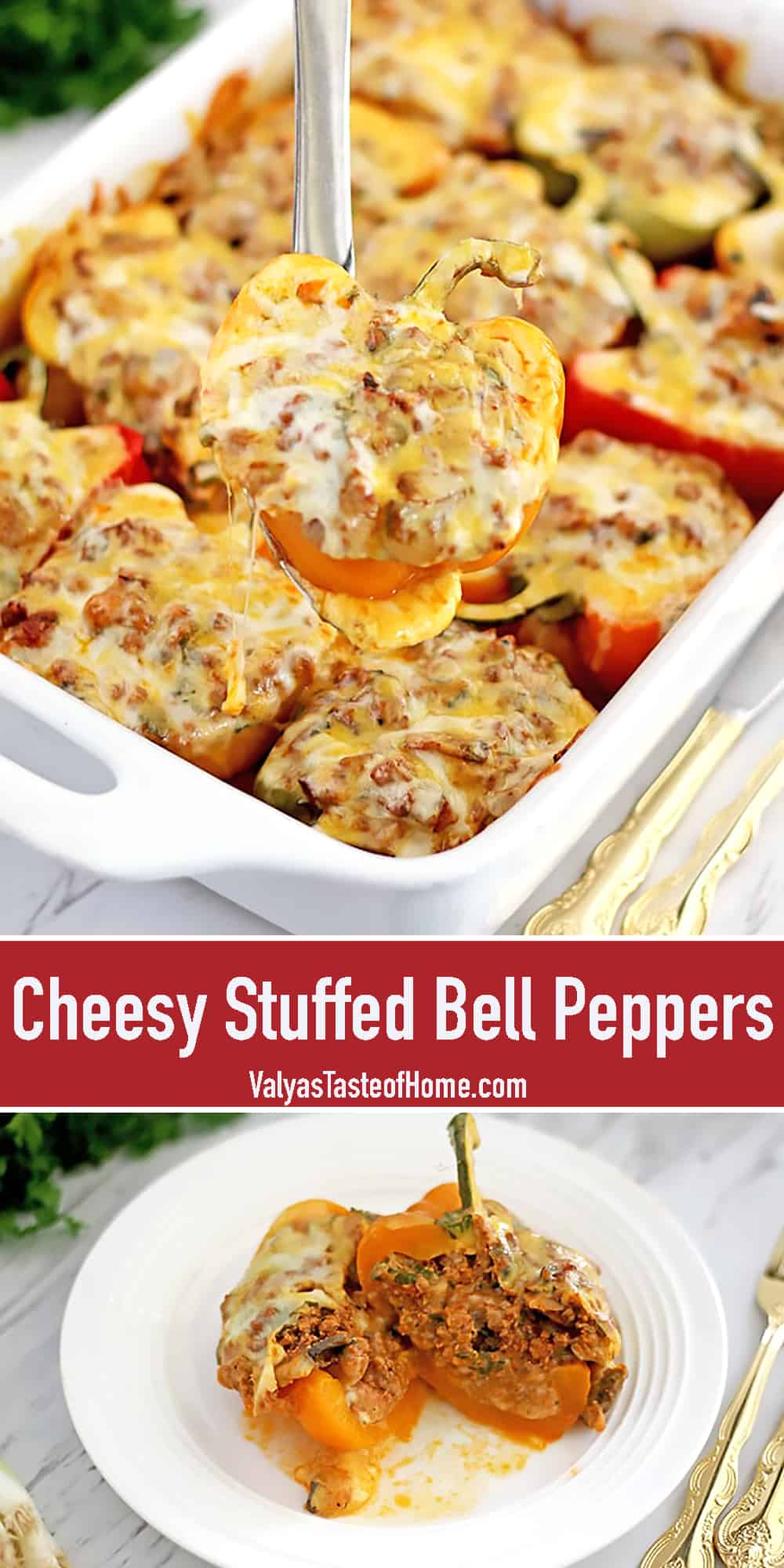 Need a snappy dinner idea? I've got this wonderful Cheesy Stuffed Bell Peppers dish for you today that goes along with any main side such as mashed potatoes, pasta, rice, or buckwheat.