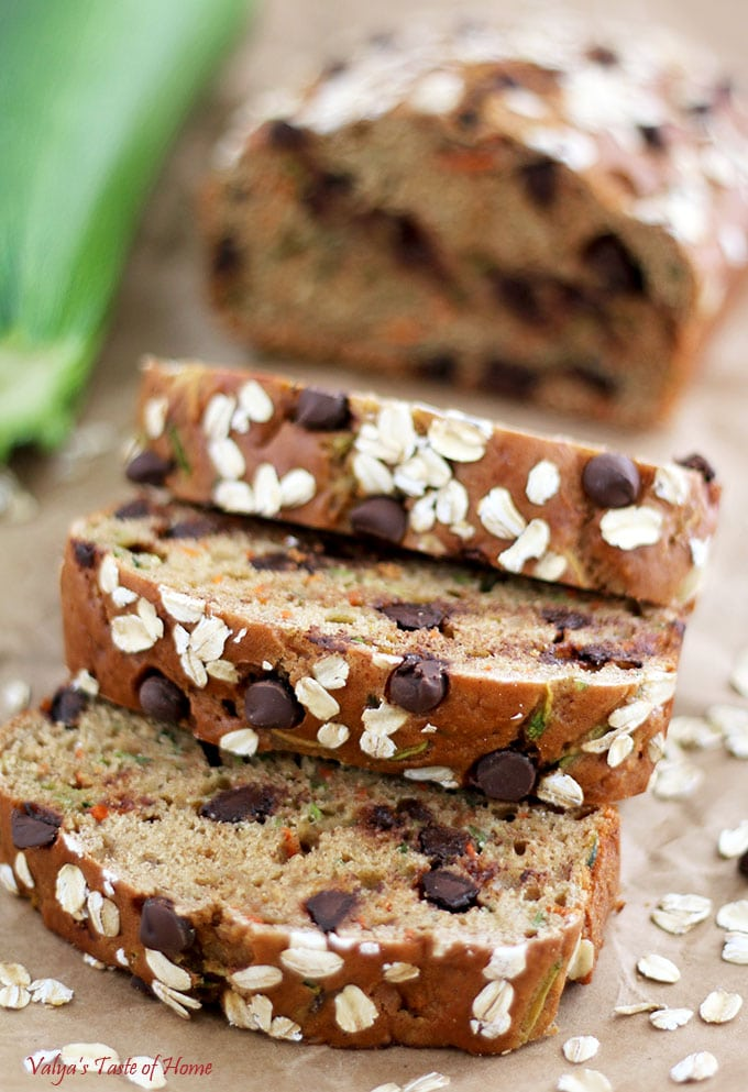 Greek Yogurt Carrot Zucchini Bread with Dark Chocolate Chip