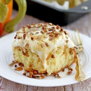 Pecan Caramel Pumpkin Rolls with Greek Yogurt Frosting