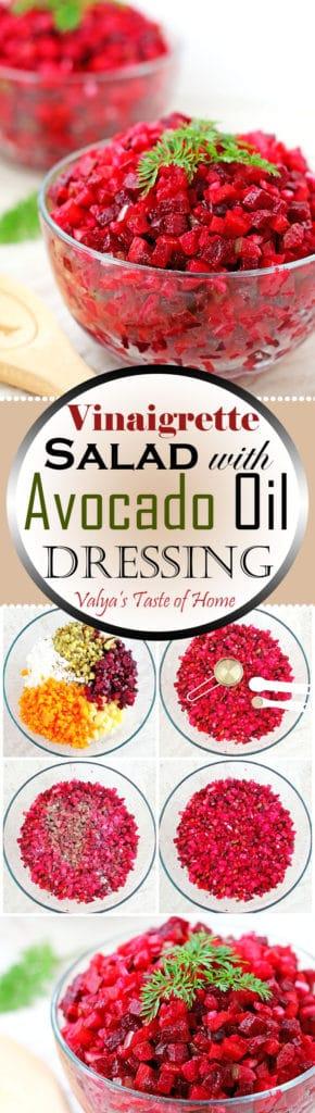 Vinaigrette Salad with Avocado Oil Dressing (Ukrainian Red Beet Salad)