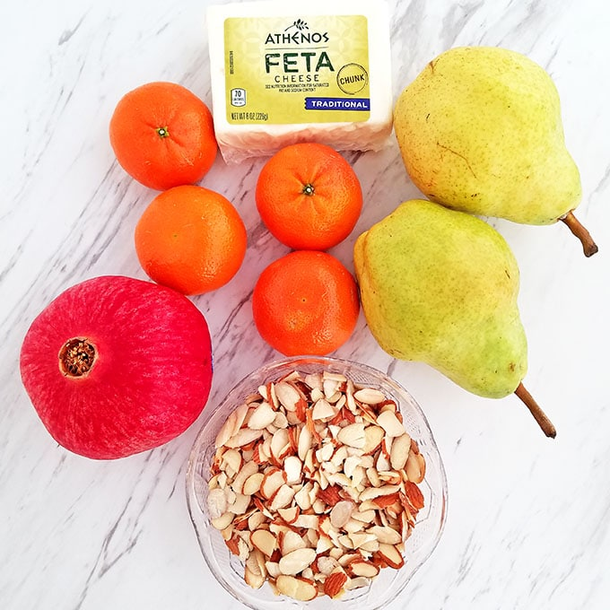 Pear Pomegranate Mandarin Winter Salad Ingredients