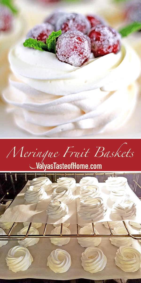These beauties are crunchy, soft, and incredibly delicious. They are super fun and easy to make but melt so quickly in your mouth.  You can make these Meringue Fruit Baskets any size, shape (circular or square), and decorate in endless ways.