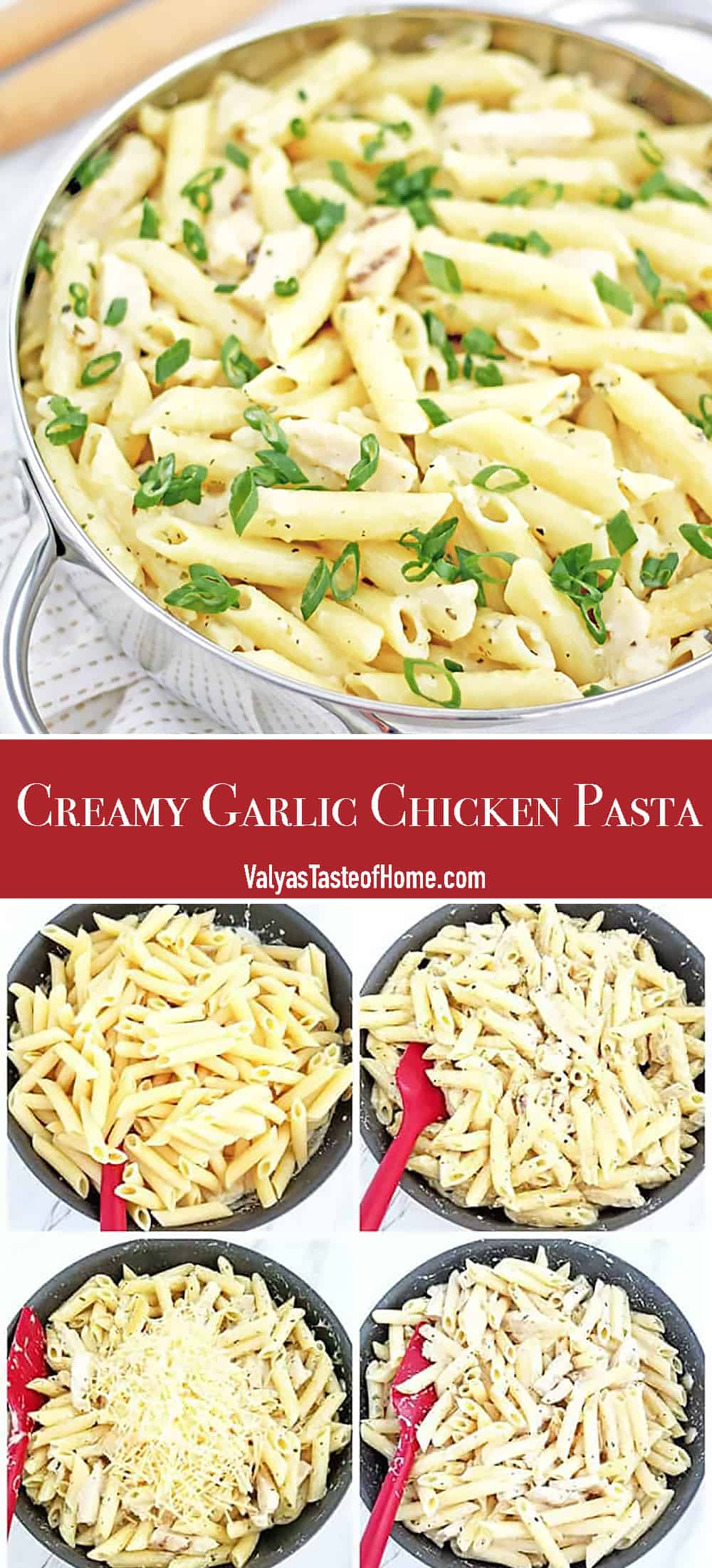 This Creamy Garlic Chicken Pasta is fairly quick to produce if you use frozen, ready-cooked chicken strips. If you prefer to prepare your own chicken, it should be done before you begin this recipe.