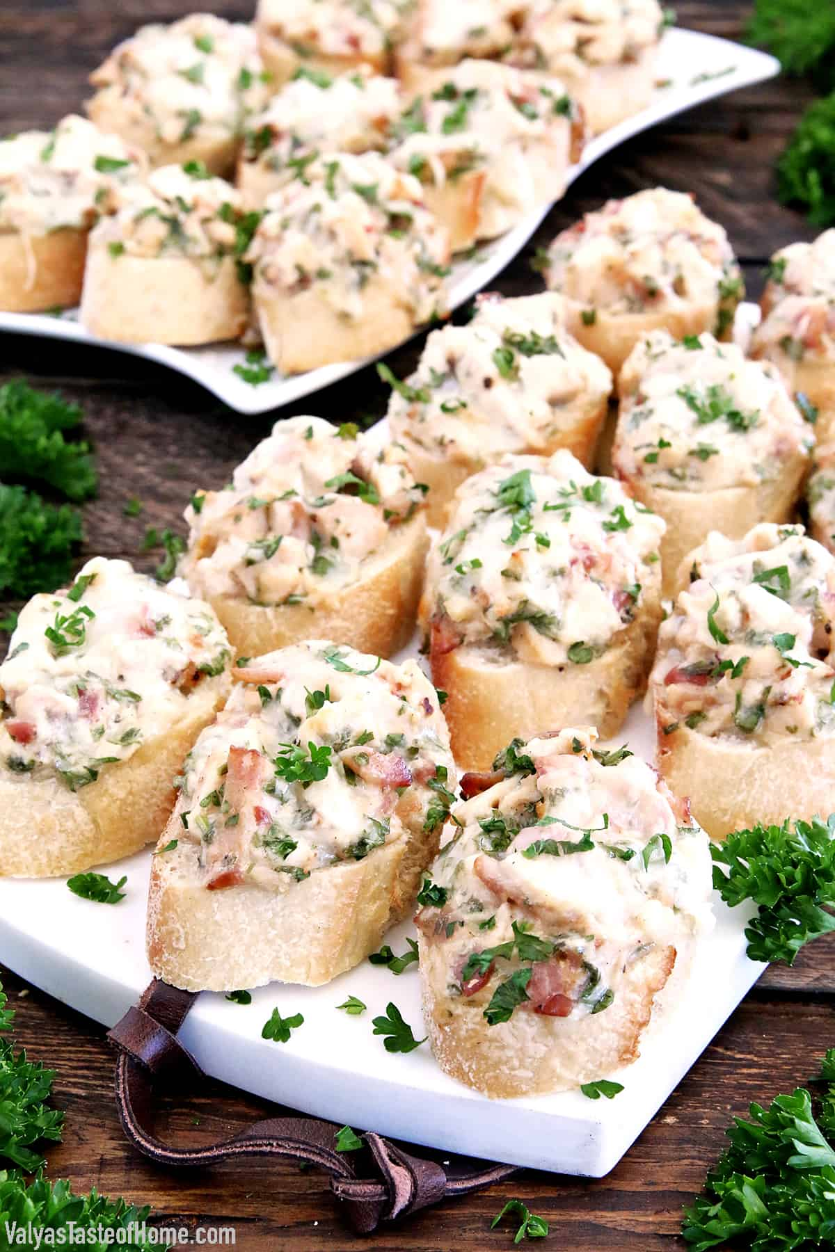 These Chicken Bacon Alfredo Canapés Appetizers are absolutely delicious served warm. These appetizers are so hearty and filling it also eats like a meal. You may turn it into a fantastic meal by adding a good homemade Caesar salad for an easy, light, and perfect lunch.