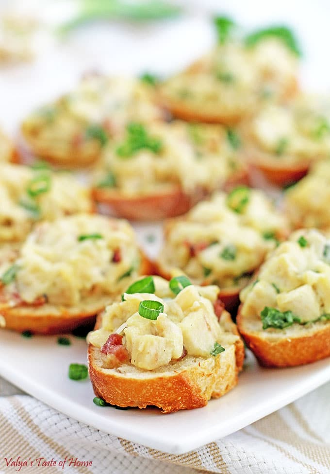 Chicken Bacon Alfredo Canapés Appetizers Valyas Taste Of Home - Canapes
