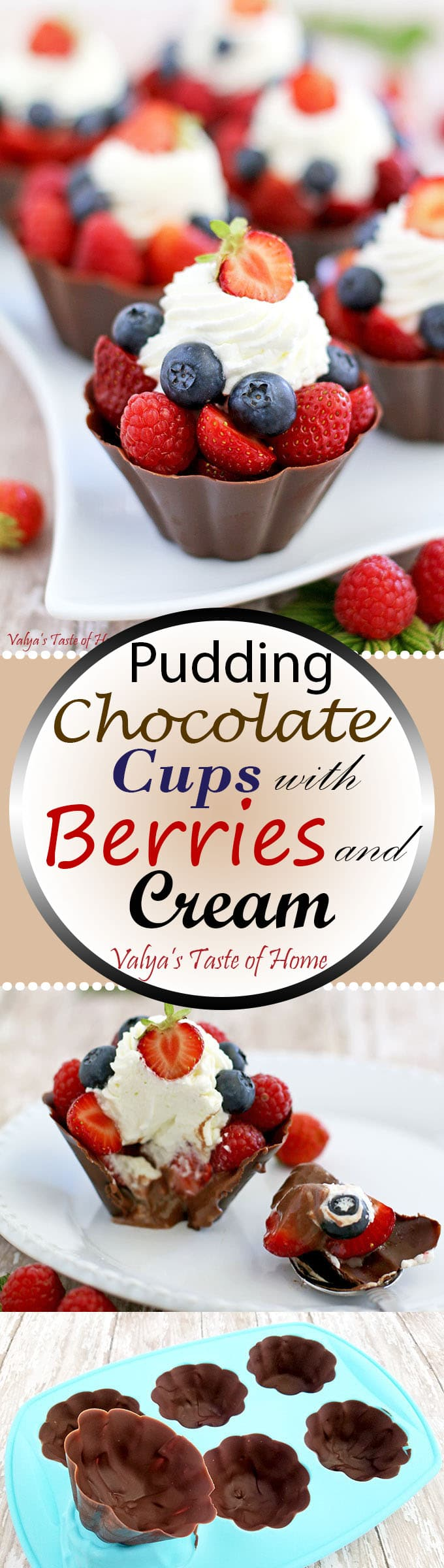 Pudding Chocolate Cups with Berries and Cream