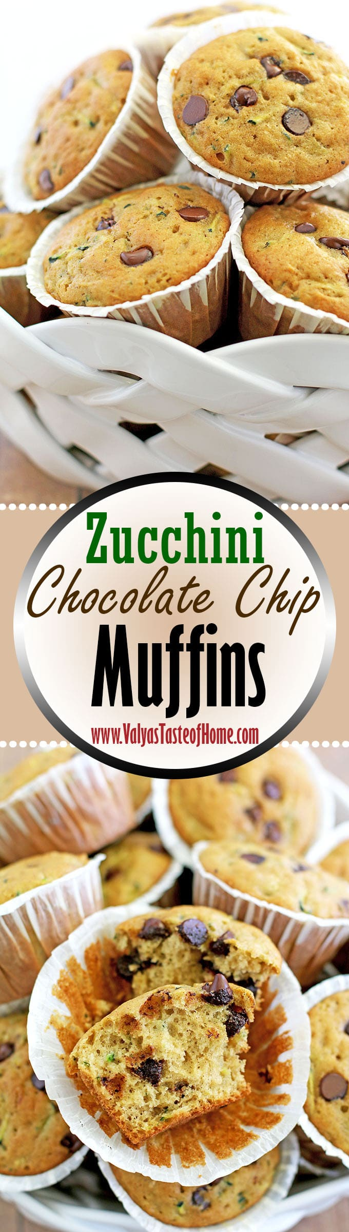 Zucchini Chocolate Chip Muffins Recipe - Valya's Taste of Home