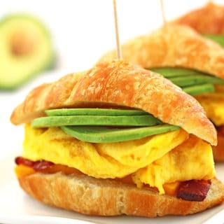 Bacon, Scrambled Eggs, and Avocado Breakfast Crossan'wich Recipe