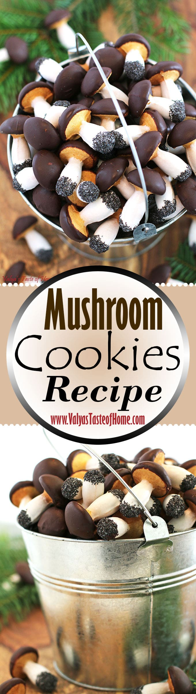 baked mushrooms cookies, beautiful dessert, butter, Christmas cookies, cocoa chocolate chips ganache, decor cookies, decor dessert, egg whites glaze, fall baking, home eggs, Mushroom Cookies Recipe, organic flour, organic sugar, poppy seeds