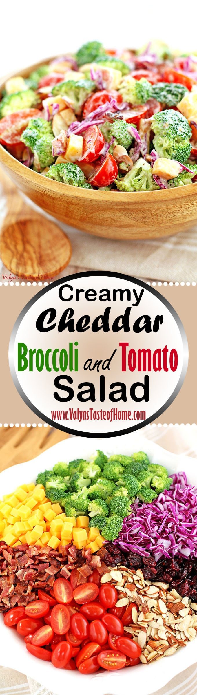 almond slivers, cheddar cheese, cranberries, Creamy Cheddar Broccoli and Tomato Salad Recipe, Greek yogurt, Greek yogurt ranch dressing, healthy, Homemade Ranch Dressing, natural bacon, red cabbage, vegetarian, winter vegetable salad