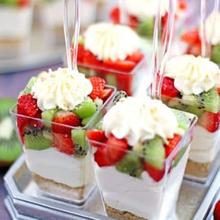 No Bake Strawberry Kiwi Cheesecake Parfaits