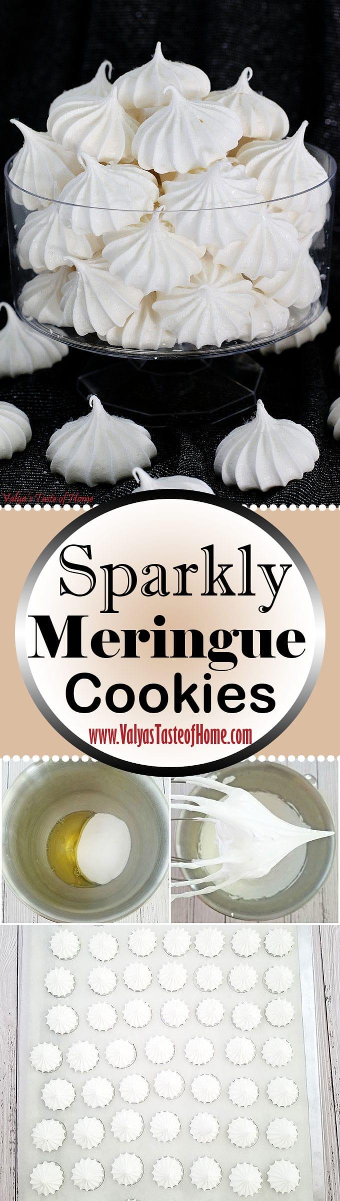 Sparkly Meringue Cookies, beautiful holiday dessert, cookies, delicious cookies, edible glitter, holiday baking, kids aproved, kids love it, meringue, Sparkly Meringue Cookies, super easy to make