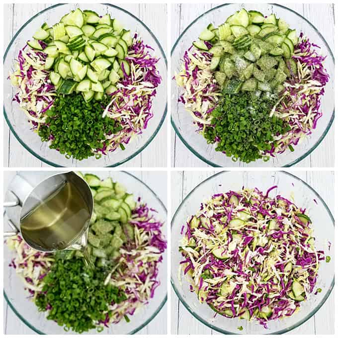 delicious, English cucumber, fresh lemon juice, green cabage, green onions, healthy, healthy eating, olive oil dressing, Red and Green Cabbage Cucumber Salad Recipe, red cabbage, sea salt, vegetarian