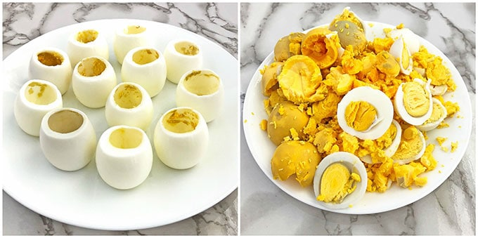 Bacon Avocado Deviled Egg Baskets, delic, delicious, deviled eggs, Easter cooking, Easter holiday, egg baskets, healthy, home eggs, homemade mayonnaise, organic avocado, organic parsley, sea salt