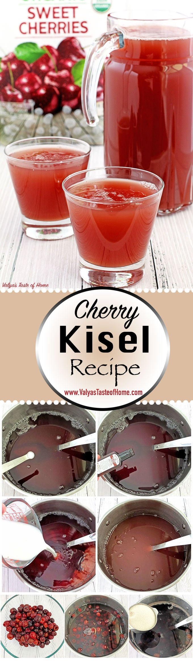 Cherry Kisel Recipe, delicious, fruit beverage, fruit drink, fruit drink recipe, homemade fruit drink, jello drink, kisel, kisil, kissel, organic cherries, organic sugar, pudding drink