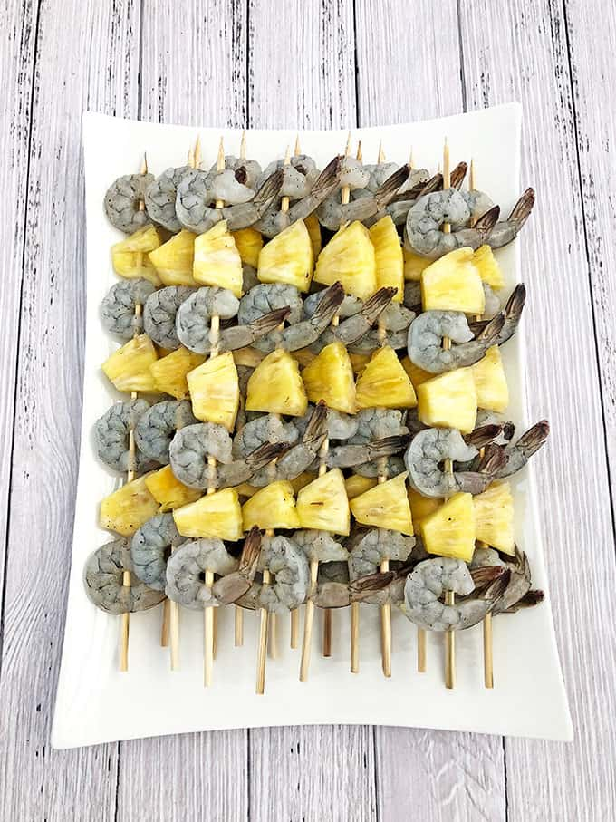 camping food, easy recipe, fresh pineapple juice, Grilled Hawaiian Shrimp Kabobs Recipe, grilled shrimp, grilling season, homecooking, homemade meals, kids approved, pineapple, pineapple glaze, skewers