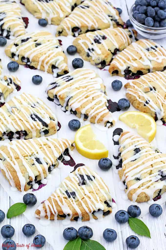 blueberries, blueberry scones, delicious, easy recipe, farm freshly picked blueberries, Lemon Blueberry Scones, Lemon Blueberry Scones with Lemon Glaze, Lemon Glaze, piper farm blueberries, scones, soft and flaky, summer baking