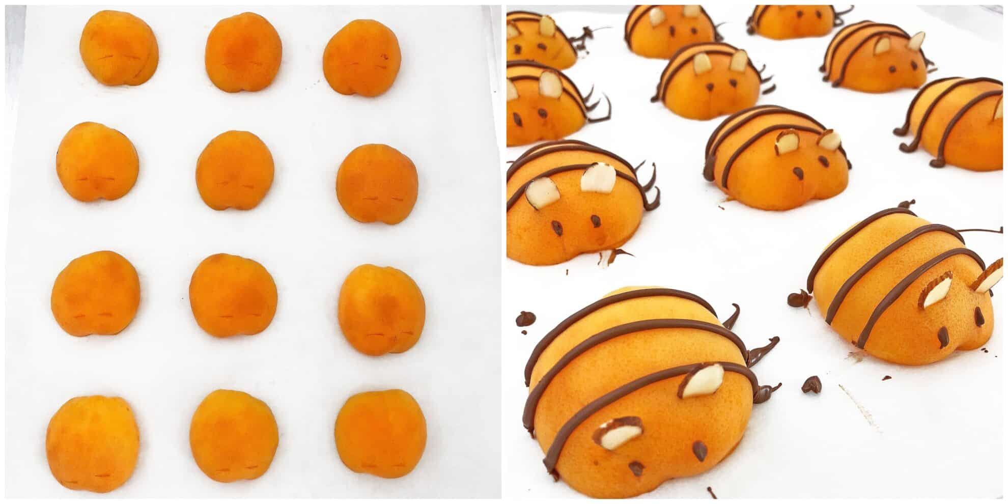 agar-agar, Apricot Bee Cake Recipe, apricot bees, apricot cake, cake, cake recipe, dessert, easy recipe, fresh apricot, kid-friendly dessert, kids love it, sheet cake, summer dessert