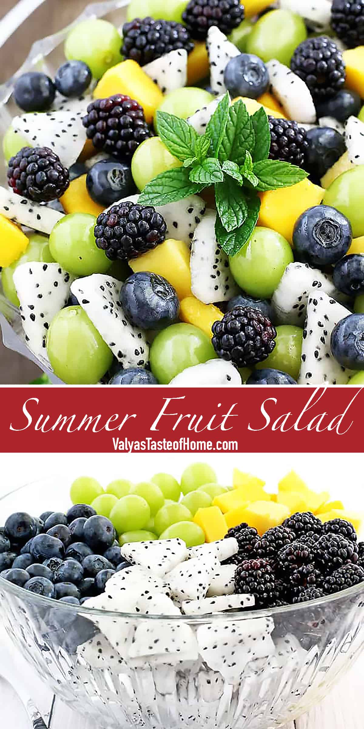 his refreshing and crowd-pleasing Summer Fruit Salad Recipe is a perfect healthy dessert or a snack anytime of the day. Most of the fruits are still in season so let's enjoy this deliciousness as long as we can. The salad is really easy to put together but is such an attractive addition to your table.