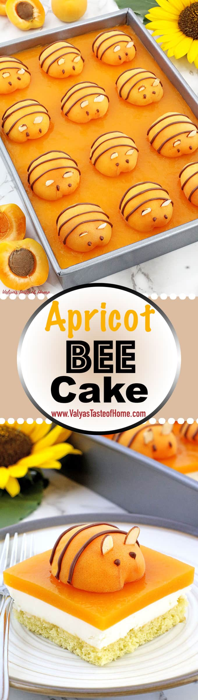 This Apricot Bee Cake Recipe is absolutely incredible! Spongy cake, fluffy cream, and the soft apricot jello give this adorable beehive themed cake a lot of flavors, every bite just melts in your mouth! And that fresh apricot bee not only gives a beauty to each slice of the cake but makes every kid and even an adult drop their jaw and wow! Plus, the more fruit the better! Right? Give it try!