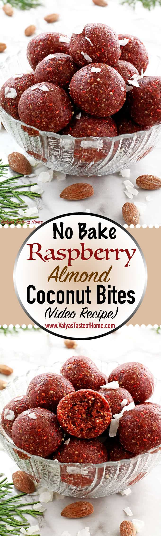 These No Bake Raspberry Almond Coconut Bites will satisfy anyone's sweet tooth! They are chewy, tasty, loaded with nuts and frozen raspberries that just blends so well together. They are a quicker and healthier granola bar. I cannot express how much they've helped sustain me during those time. I love these! I really recommend you give it a try if you're frequently on the go! You will fall in love with these bites from the first one you pop in your mouth.