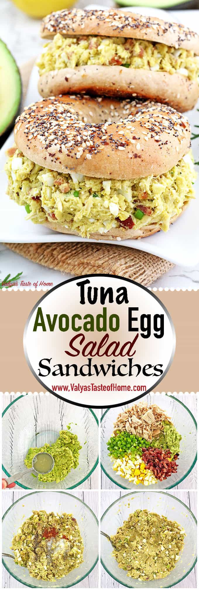 These Tuna Avocado Egg Salad Sandwiches are quick to put together, make-ahead recipe that is perfect for lunch, snack or lunch boxes. They are very filling, healthy, and full of nutrients, vitamins, and protein that will keep you full for a while. Tuna Avocado Egg Lettuce wraps. Also, top crackers of your choice and serve as appetizers. Spread this salad on wheat or flour tortilla and serve as tortilla rolls. The possibilities are endless.