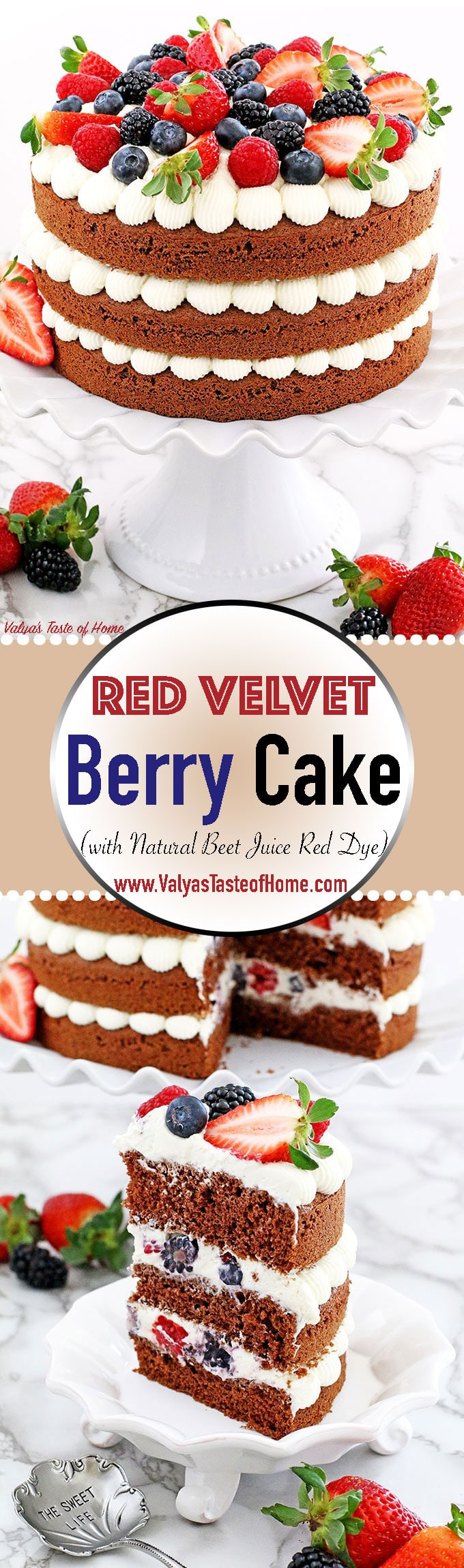 This Red Velvet Berry Cake recipe is super moist, pillow soft and is made with natural red beet juice instead of the typical red food coloring. The naked cake layers are piped with an absolutely delicious creamy and smooth cream cheese frosting, loaded with delicious berries. The cake looks absolutely stunning! Perfect for parties, anniversaries, or just simply enjoy a slice or two for a tea with a friend.